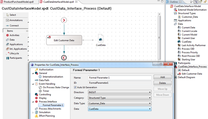 Figure 2: :CustData_Interface_Process Interface and Formal Parameter definition