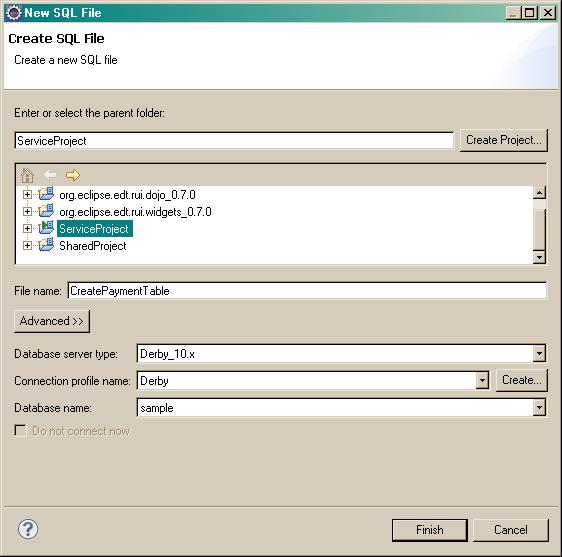 CreatePaymentTable SQL file attributes