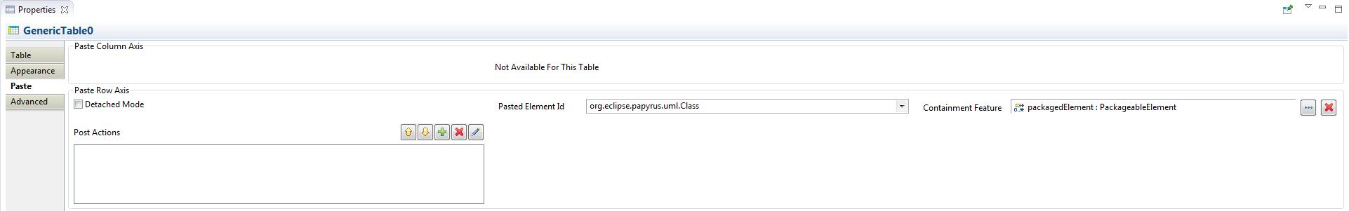 Paste In Table Configuration Property View