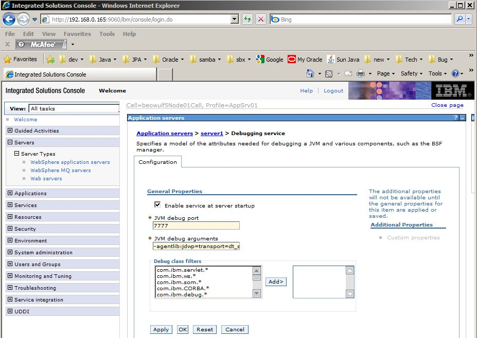 Websphere7 console debug screen.JPG