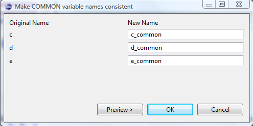 Make common var names consistent dialog