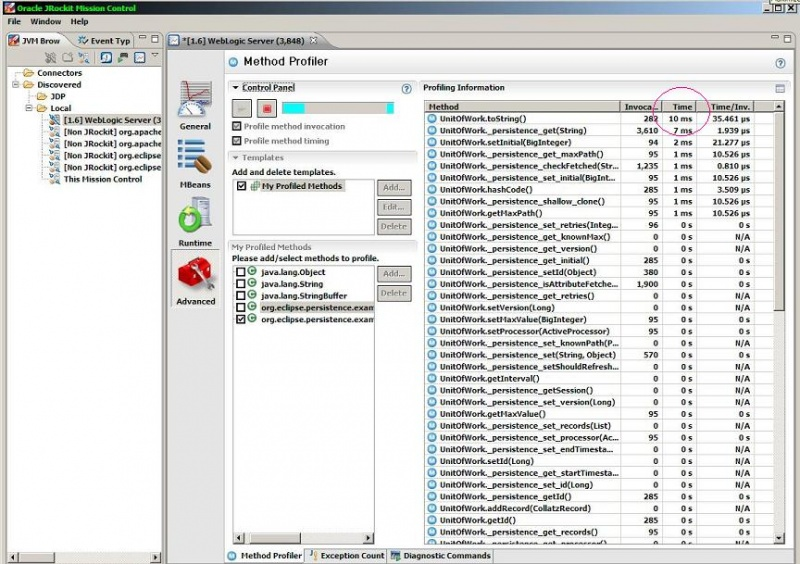 File:Jrockit mission control runtime adv method profiler shows weaved instrumented methods on entity sort by time.JPG