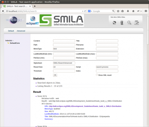 SMILA's advanced sample search page