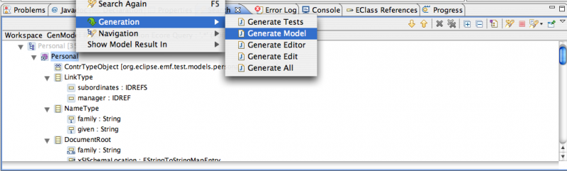GenModel Textual Result Code Generation Actions
