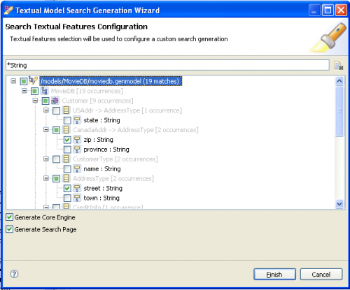 EMF Search Textual Core and UI Code Generation Wizard
