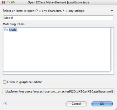 EMF Search Open UML Package Filtered Dialog