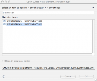 EMF Search Open UML Classes Filtered Dialog