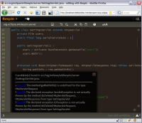 A screenshot of a text editor running in Mozilla Firefox with the help of Mozilla Bespin.