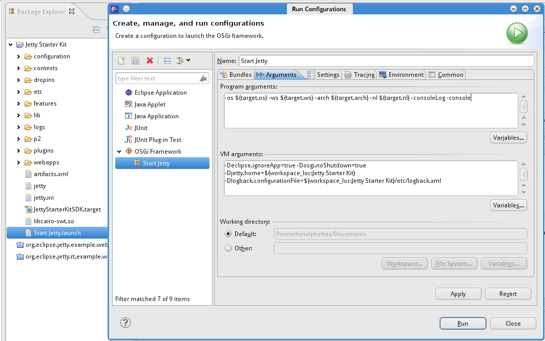 launch Configuration with the EclipseRT Starter Kit