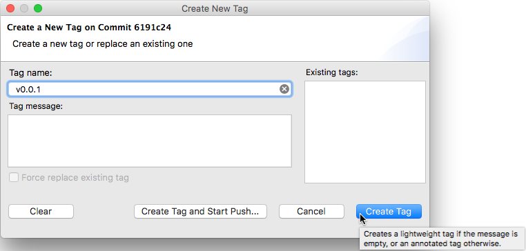 "Screenshot of the ""Create Tag"" dialog showing the tooltip on the ""Create"" button explaining this."