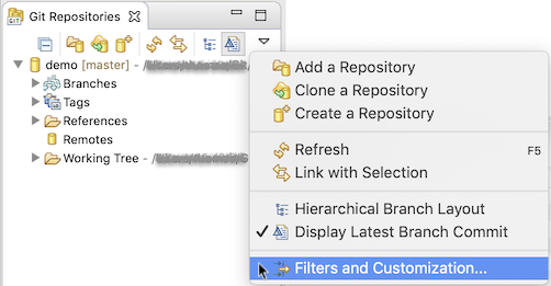 "Screenshot showing the ""Filters and Customization..."" entry in the view menu of the Git Repositories view"