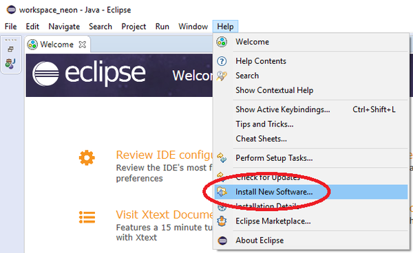 Install New Software in Eclipse IDE
