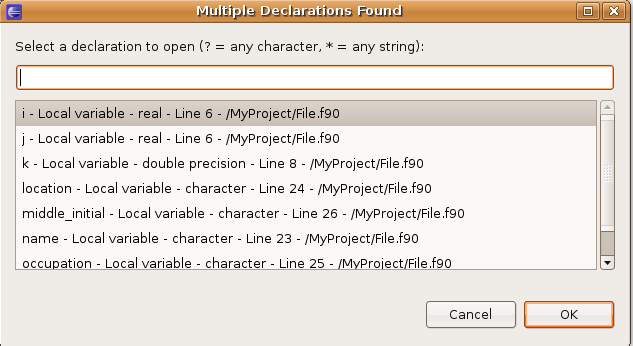 Example of the Find All Declarations in Scope refactoring