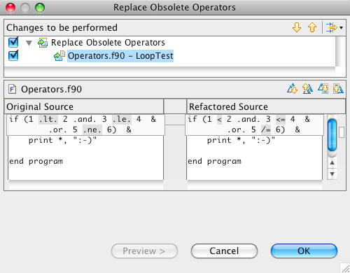 Example of the Replace Obsolete Operators refactoring