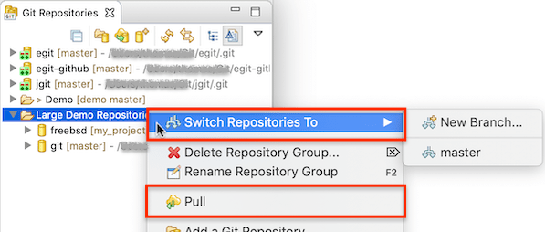 """Screenshot of the Git Repositories view showing multi-operations enabled on repository groups in EGit 5.7.0."""