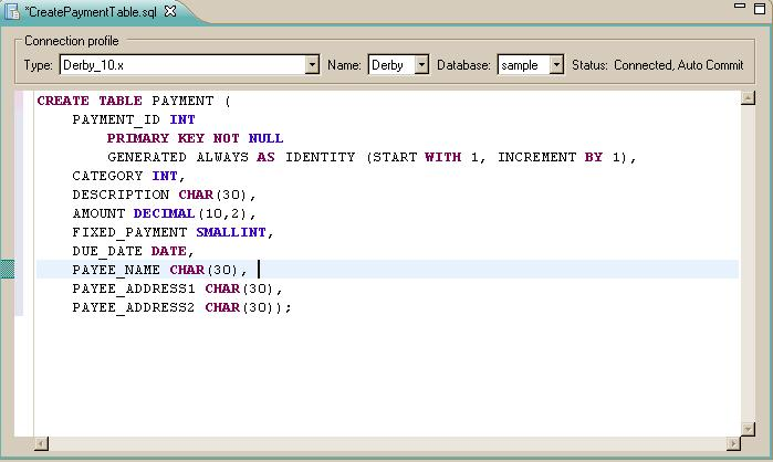 ... CreatePaymentTable SQL File Contents