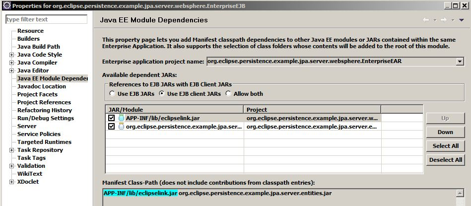 Eclipse ejb container managed project manifest classpath to eclipselink jar in ear .JPG