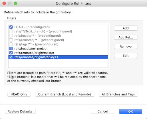 """Screenshot of the EGit 5.6.0 ref filter configuration dialog with custom filters."""