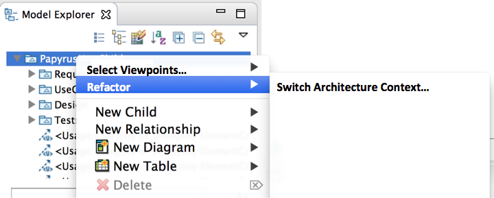 The context menu for Switch Architecture Context action.png