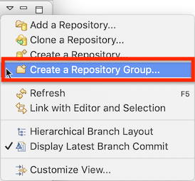 "'View menu of the repositories view with the new ""Create a Repository Group..."" entry highlighted'"