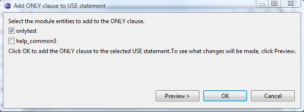 Add ONLY to USE dialog