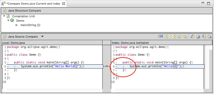 Screenshot of a Java comparison in Eclipse (workspace against index) showing whitespace on the index side