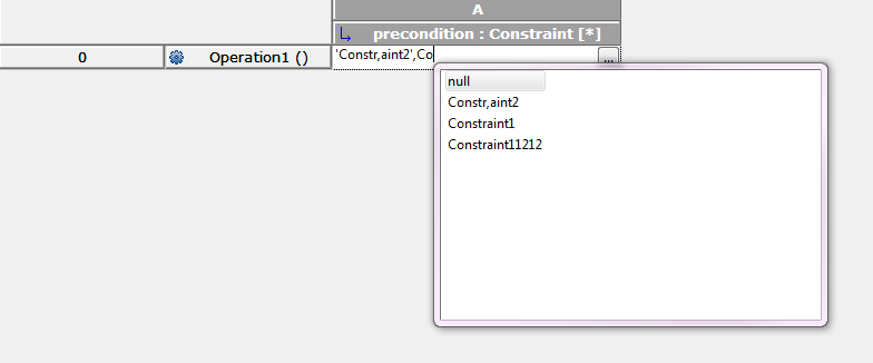 Editing the precondition of an Operation in Table