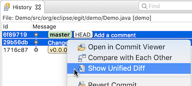 """Screenshot showing the 'Show Unified Diff' command in the Git History view in Egit 5.7.0."""