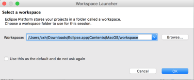 "The ""Select a workspace"" window.  Either click on OK or Browse to a different location"