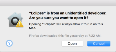 Query asking if it is ok to open the Eclipse binary that was created by an unidentified developer